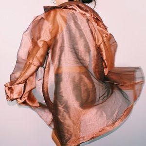 Bronze Sheer Mesh Trenchcoat
